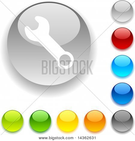 Tools shiny button. Vector illustration.