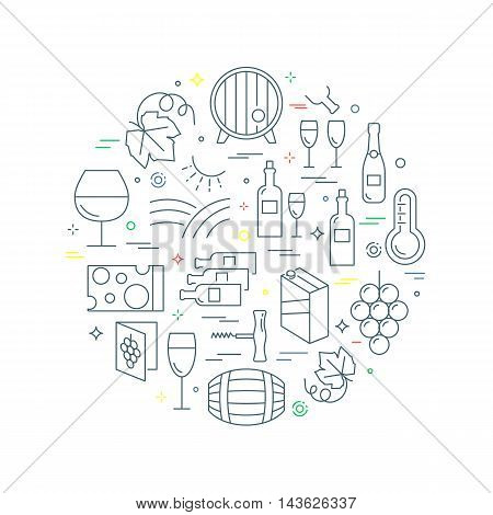 Wine abstract concept vector illustration line style