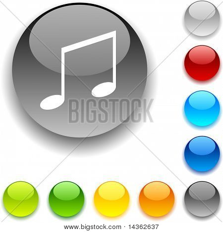 Music shiny button. Vector illustration.