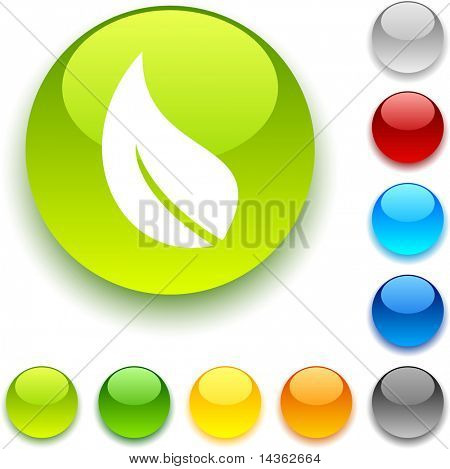 Ecology  shiny button. Vector illustration.