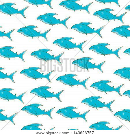 Shark seamless texture shark pattern shark wallpaper. Vector illustration