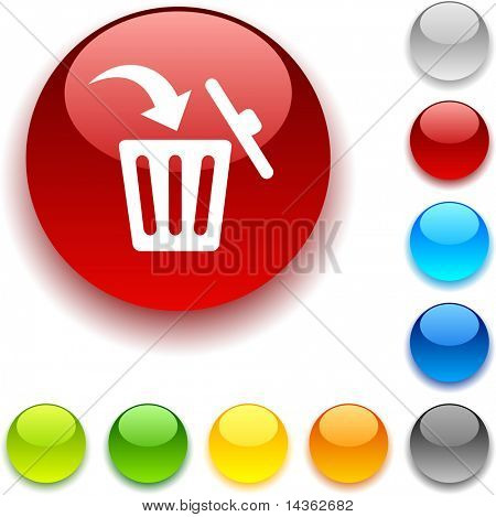 Delete shiny button. Vector illustration.