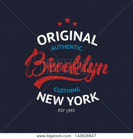 Vintage Brooklyn label. Quality tee print, badge. Brooklyn hand written lettering calligraphy. Vector illustration.
