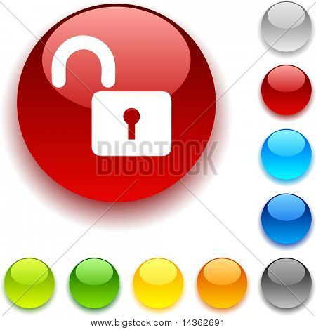 Padlock  shiny button. Vector illustration.