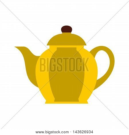 Yellow teapot icon in flat style on a white background