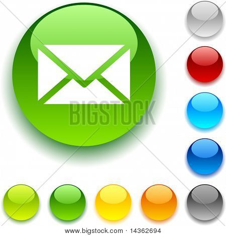mail  shiny button. Vector illustration.