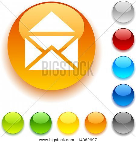 e-mail  shiny button. Vector illustration.