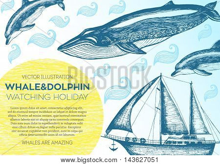 Nautical vector illustration drawn in ink. Frigate whale and dolphin on the waves. Sea design template. Whales and dolphin watching holiday.