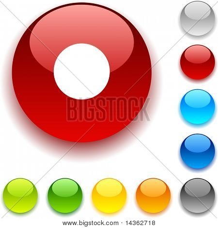Rec shiny button. Vector illustration.