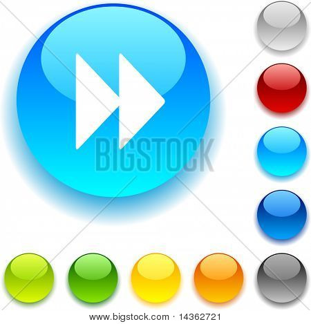 Forward shiny button. Vector illustration.