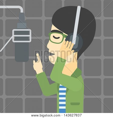 An asian man in headphones singing in recording studio. Singer making a record of his voice. Young singer recording a song. Vector flat design illustration. Square layout.