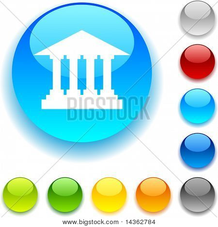 Exchange shiny button. Vector illustration.