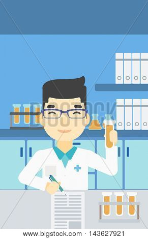 An asian laboratory assistant taking some notes. Laboratory assistant working with a test tube at the lab. Vector flat design illustration. Vertical layout.