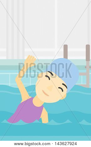 An asian young sportswoman wearing cap and glasses swimming in pool. Professional female swimmer in swimming pool. Vector flat design illustration. Vertical layout.