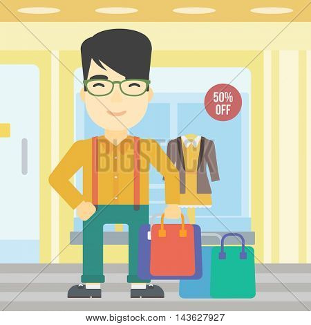 An asian man holding shopping bags on the background of boutique window with dressed mannequins. Happy young man carrying shopping bags. Vector flat design illustration. Square layout.