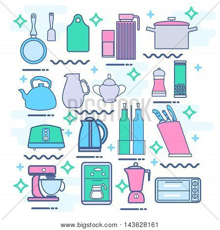 Line icons set with flat design elements of kitchen appliances set utensils and kitchenware cooking food preparation frying pan microwave oven and coffee machine electric mixer toaster electric kettle blender.