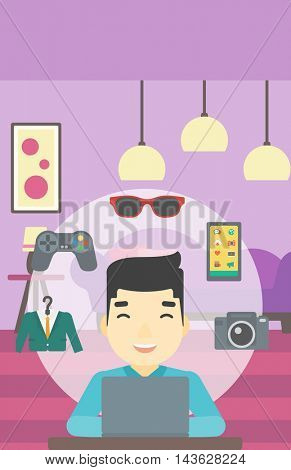 An asian man sitting in front of laptop and some images of goods around him. Man doing online shopping. Man buying on internet. Vector flat design illustration. Vertical layout.