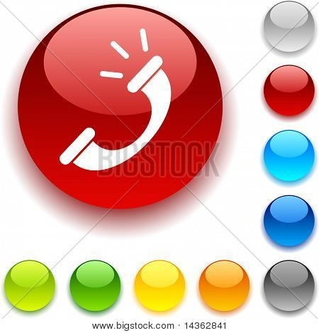 Telephone shiny button. Vector illustration.