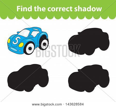 Children's educational game find correct shadow silhouette. Toy car set the game to find the right shade. Vector illustration