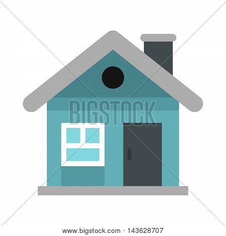 Small blue cottage icon in flat style on a white background