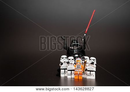 Orvieto Italy - January 12th 2015: Group o Star Wars Lego Stormtroopers mini figures take a selfie with Darth Vader. Lego is a popular line of construction toys manufactured by the Lego Group