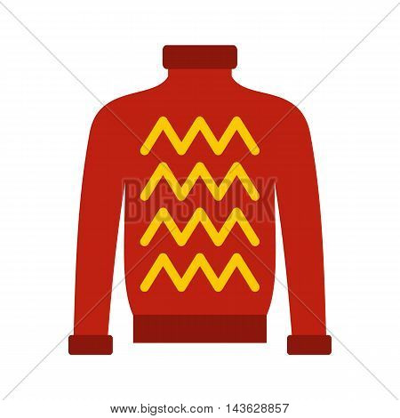 Red warm sweater icon in flat style on a white background