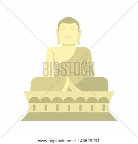 Sitting Buddha, South Korea icon in flat style on a white background