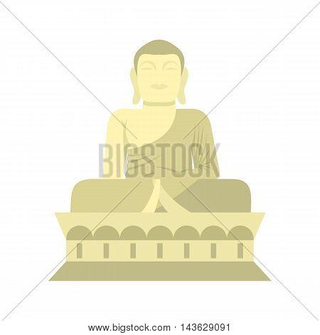 Sitting Buddha, South Korea icon in flat style on a white background