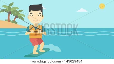 An asian sportsman wakeboarding on the sea. Wakeboarder making tricks. Man studying wakeboarding. Young man riding wakeboard. Vector flat design illustration. Horizontal layout.