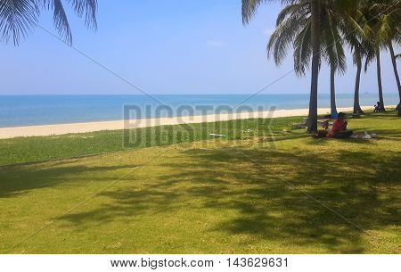 ocean shore, sand, with five coconut trees on the right with a couple having a picnic, one person on a cellphone seen in the distant  shadows, tree shadows on the grass,  Songkhla, Thailand