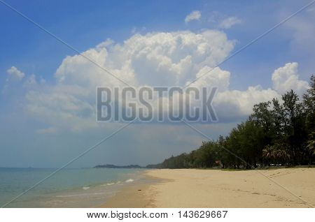 large cumulus cloud above a long, empty beach, with pine trees on the right, Songkhla, Thailand