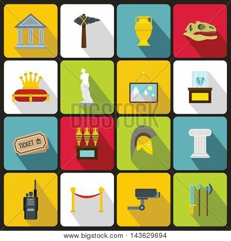 Museum icons set in flat style. Antique and culture symbols set collection vector illustration