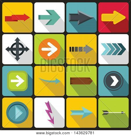 Arrow icons set in flat style. Arrow sign set collection vector illustration