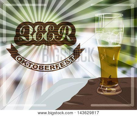 Glass mug of light beer Oktoberfest poster vector illustration.