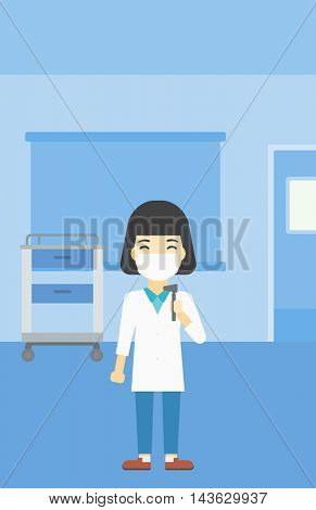 An asian female ear nose throat doctor standing in the medical office. Doctor with tools used for examination of ear, nose, throat. Vector flat design illustration. Vertical layout.