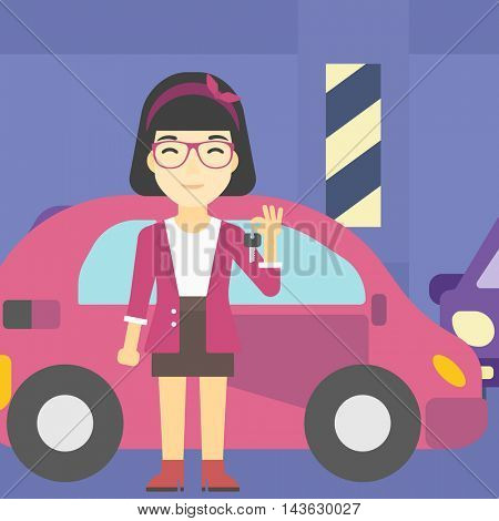 An asian woman holding keys to her new car. Happy young woman showing key to her new car on the background of car shop. Woman buying car. Vector flat design illustration. Square layout.