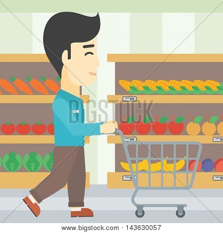 An asian young man pushing empty supermarket cart. Customer shopping at supermarket with cart. Man walking with trolley on aisle at supermarket. Vector flat design illustration. Square layout.
