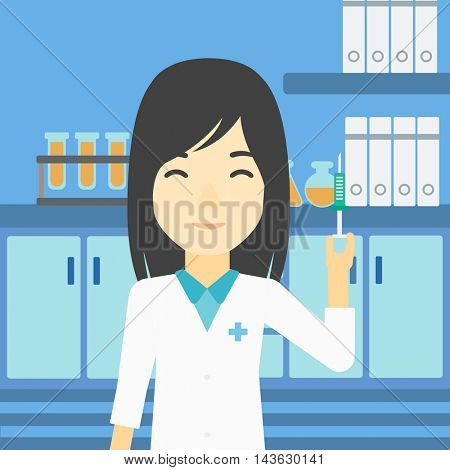 An asian female laboratory assistant holding syringe. Laboratory assistant with syringe in a laboratory. Laboratory assistant making medical test. Vector flat design illustration. Square layout.