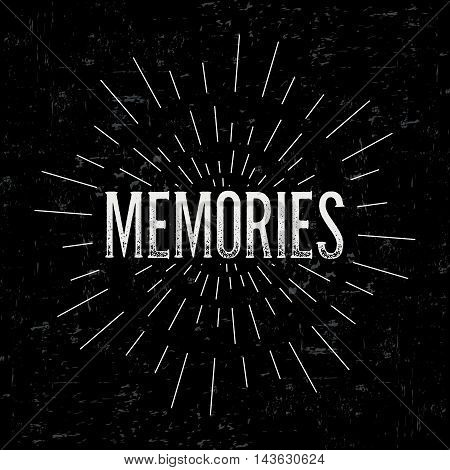 Abstract creative vector design layout with text - memories. Vintage concept background, art template, retro elements, logo, labels, layout, badge, old banner, card. Hand made typography word.