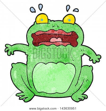 freehand textured cartoon funny frightened frog