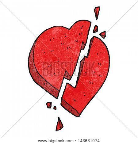 freehand textured cartoon broken heart symbol