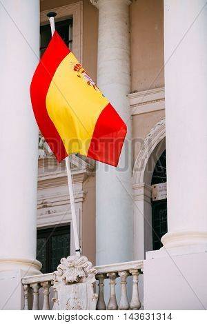 Spain Flag On Facade Of An Old Building.