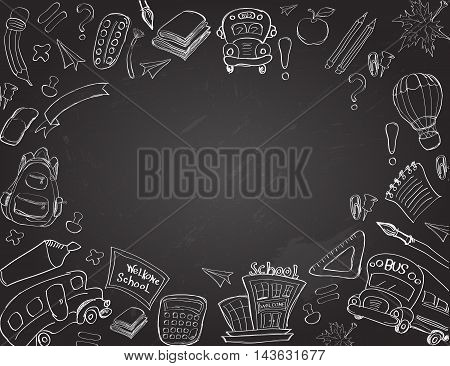 Welcome Back to School Classroom Supplies Notebook Doodles Hand-Drawn Illustration Design Elements, Freehand drawing, Vector. blackboard background. Education sketchyFreehand drawing Vector