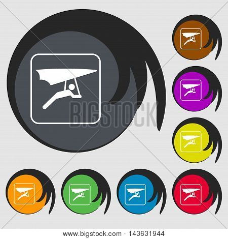 Hang-gliding Sign Icon. Symbols On Eight Colored Buttons. Vector