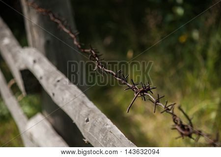 Barbed wire stretched along the wooden fence