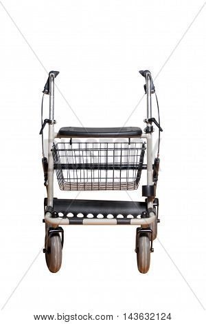 4 wheels trolley with basket for elders isolated