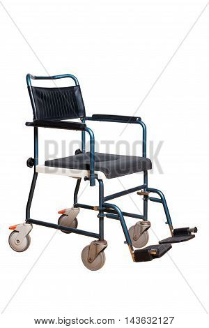 Commode chair for elder. Wheelchair for disposable people isolated