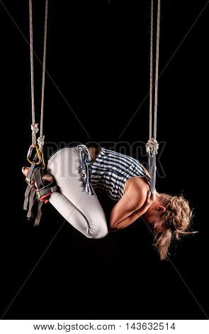 girl in a new type of gymnastics Alfa Gravity