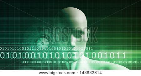 Mind Brain Code as Data Visualization Concept Art 3D Illustration Render