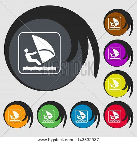 Windsurfing Sign Icon. Symbols On Eight Colored Buttons. Vector
